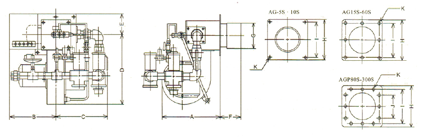 Gas Burners - AG Series Dimension